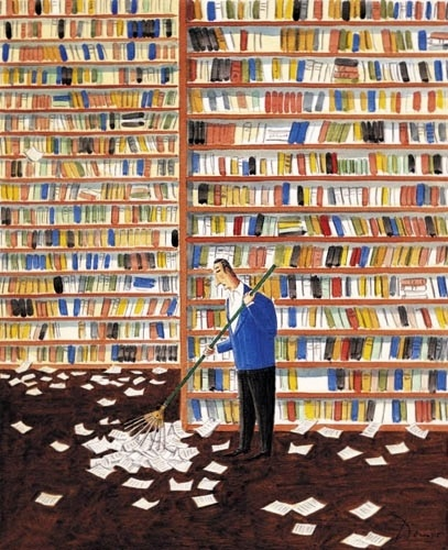 L'AUTOMNE © Benoît Van INNIS (Artist, Belgium).  ... ... The library in AUTUMN ... the books shed their leaves...