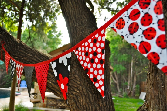 ETB ladybug room  Fabric Ladybug pennant banner bunting, ladybug birthday party, bedroom, playroom decor, photo prop. $30.00, via Etsy.