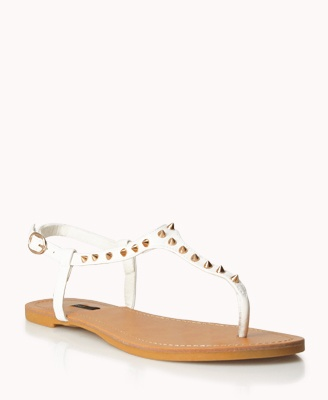 Spiked Faux Leather Thong Sandals