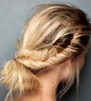 fishtail side braid + low bun #hair