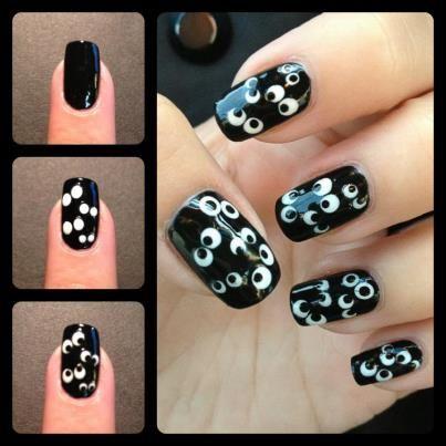 Googly Eyes nail art design how-to- Halloween nails!