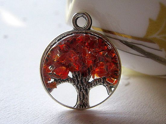 Glass Ruby Necklace, Tree of Life, Magnifying Necklace, July Birthstone Color, Ruby Tree Necklace. $19