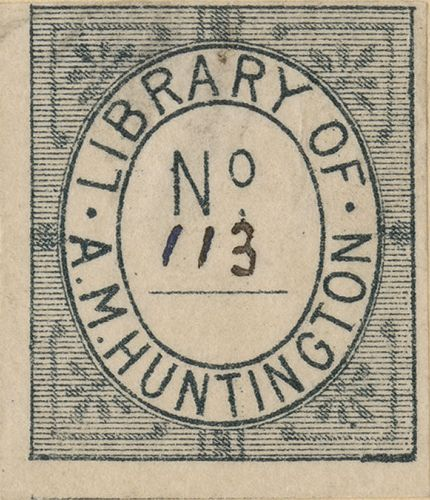 [Bookplate of A.M. Huntington] by Pratt Libraries