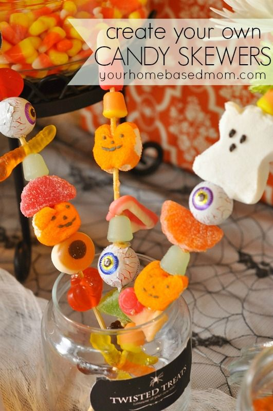 Halloween Candy Skewers ...cute and easy Halloween favors!