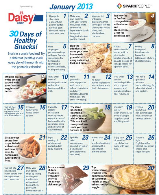30 Days of Healthy Snacks by sparkpeople: 'Variety is the spice of life.' Get out of the rut with a new snack everyday!  #Snacks #Healthy