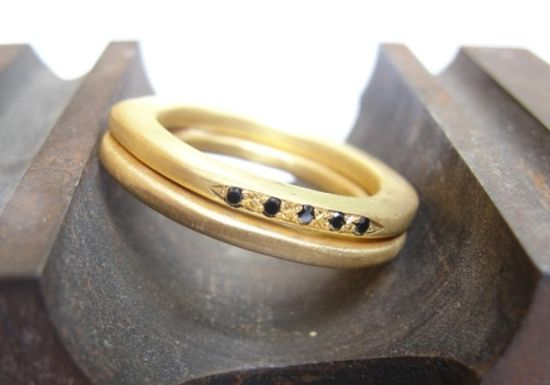 Ring  18k Yellow Gold and Black  Diamonds Wedding by AurumJewelry, $1290.00