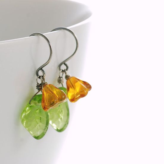 Orange Flower Leaf Earrings Sterling Silver by aubepine $15.50