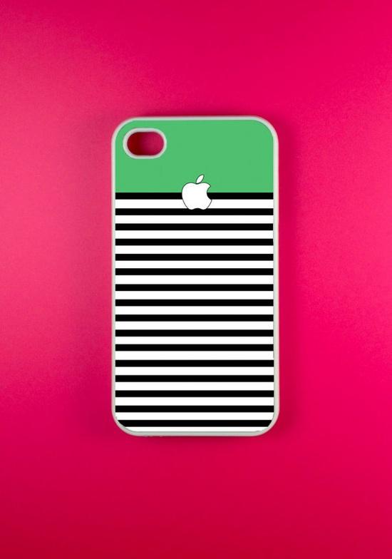 Iphone 4 Case - Green White Strip