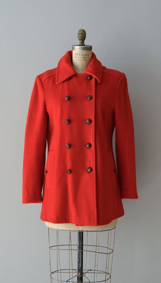 Lena wool coat / red coat / vintage red wool peacoat by DearGolden, $138.00