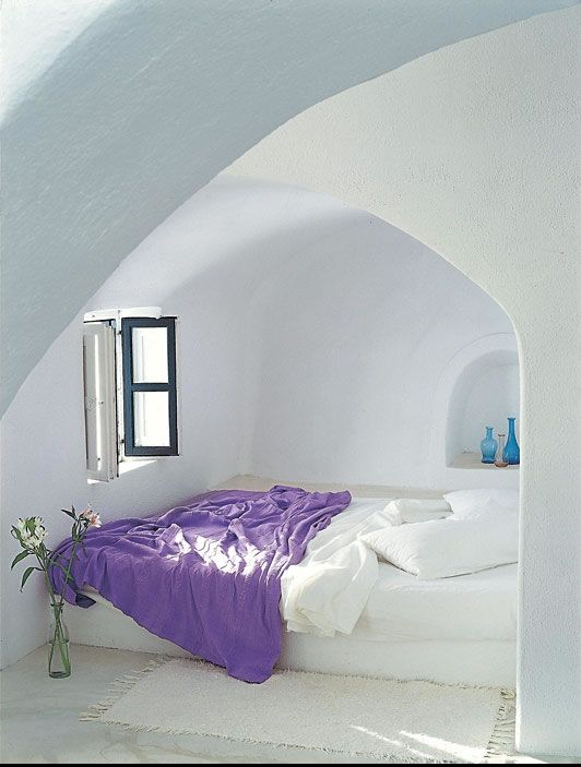 White-washed bedroom in Greece