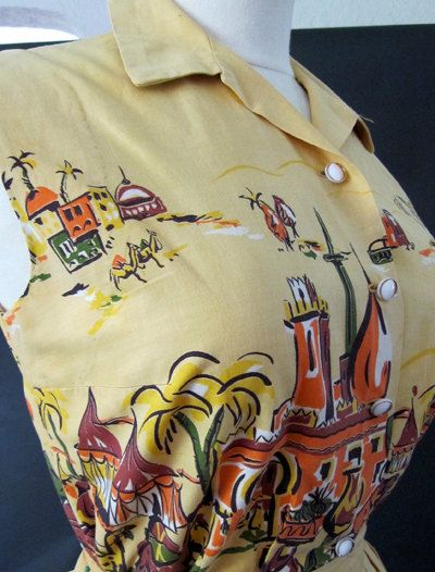 Amazing 1950s novelty print  with exotic dancers by wearitagain, $168.00