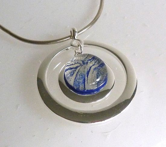 Fused Glass Pendant in Silver and Deep Royal Blue