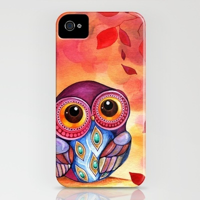 Owl's First Fall Leaf iPhone Case by Annya Kai - $35.00