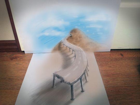 3D Pencil Paper Art Bridge