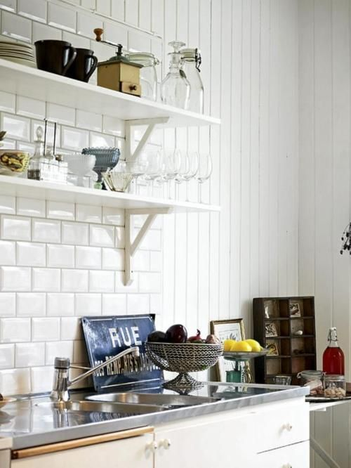 #kitchen #open #shelves #white #subway #tiles #sink #home #interior decorating