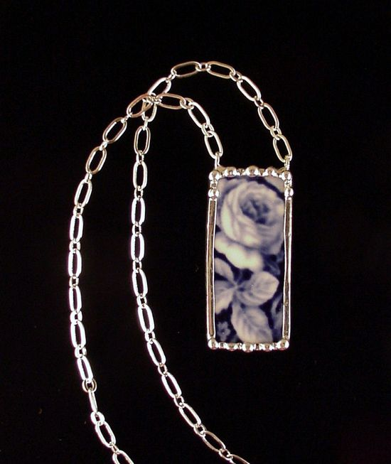 Broken china jewelry necklace flow blue rose antique china made from a broken plate