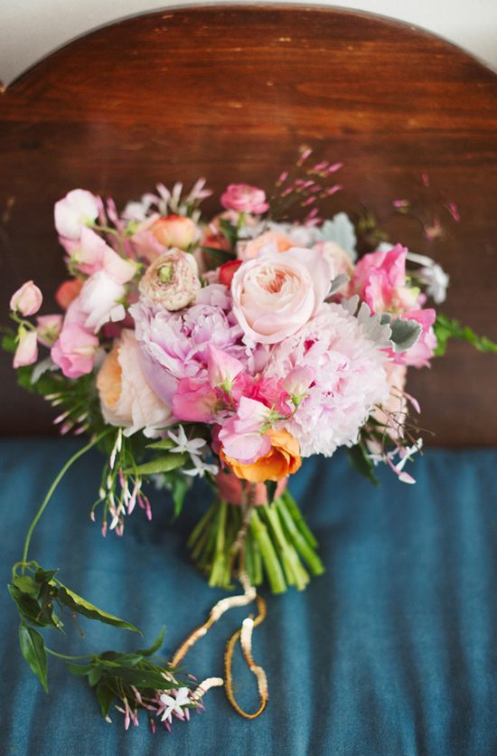 lush pink bouquet from bows + arrows // photo by Nine Photography