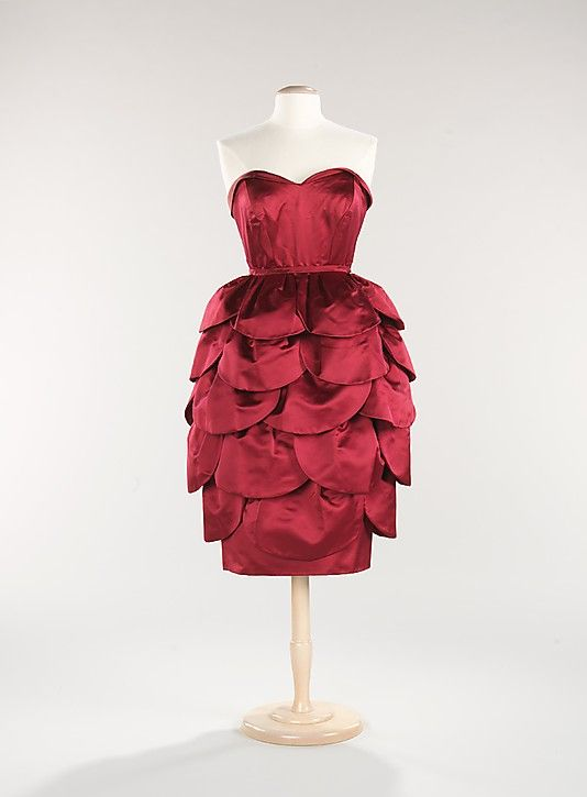 Mainbocher 1950s red vintage dress