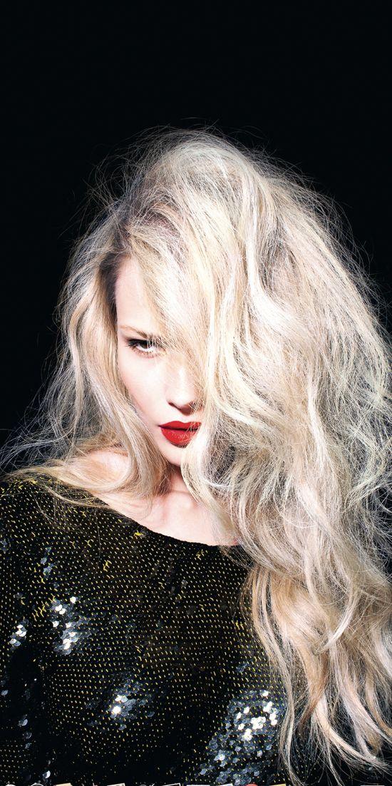 curls + red lip