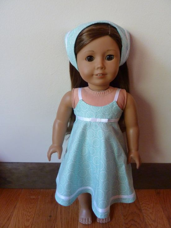 American Girl Doll Clothing  Summer dress and head scarf by SewSmallNSweet, $14.00