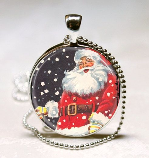 Christmas Jewelry Jolly Santa Necklace by MissingPiecesStudio, $9.95