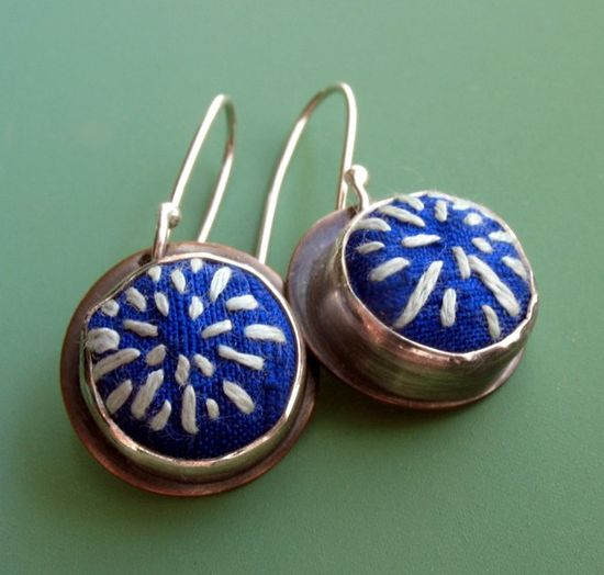 Embroidered silk earrings by ashley jewelry