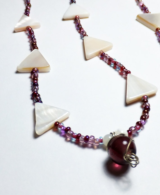 Triangle Mother of Pearl Beaded Necklace with Purple by tzteja, $15.00