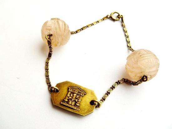 Art Deco Egyptian Pink Jade Bracelet