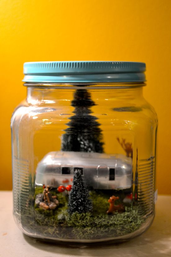 "OMG How cute is this?? Campground in a jar! When you are ""stuck"" somewhere you dont want to be, but need a ""happy place"" to go to in your thoughts...A desk top reminder of where you belong."