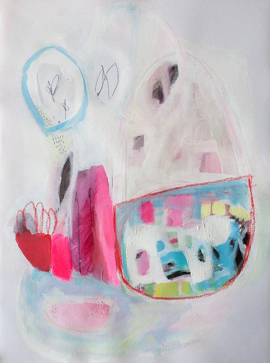 ABSTRACT painting, giclee print, pink, white, blue, modern painting