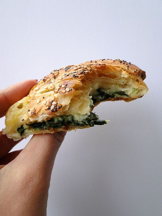 Spinach and brie puff pastries