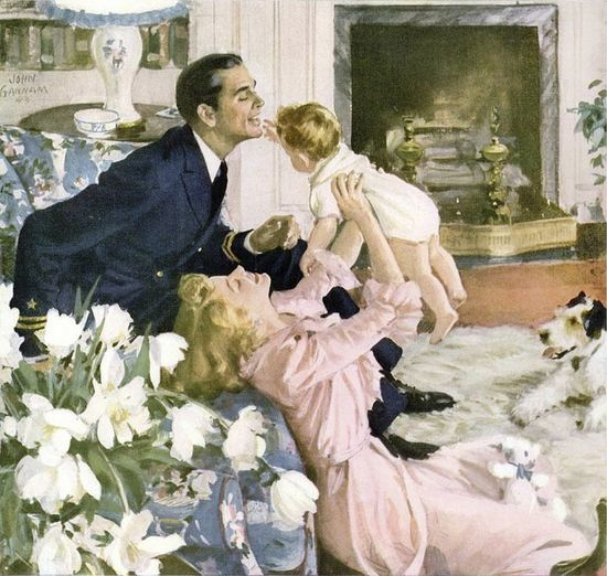 A heartwarming moment of domestic bliss as illustrated in 1944 Stenson ad. #vintage #family #father #mother #mom #baby #1940s #art