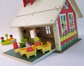 Fisher Price School House with Bus and people toy vintage 1970 toy
