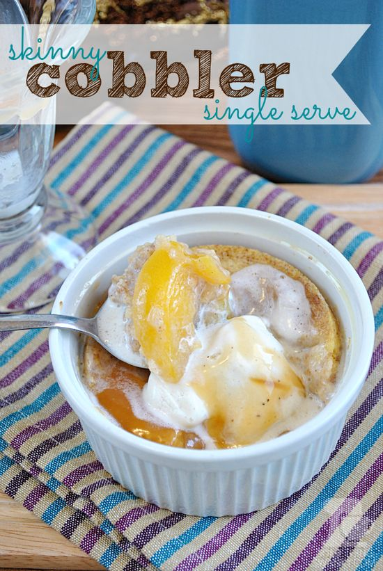 Skinny Saturday: Single Serve Peach Cobbler - Something Swanky