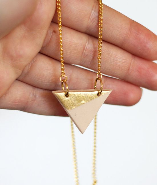 new necklace #gold #triangle #geo #etsy #ammjewelry