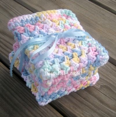 Baby Wash Cloths Baby Bath Cloths All Cotton Pastels Crochet Handmade Gift Set of 3