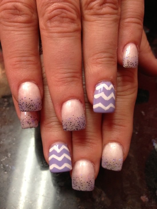 Purple chevron nails