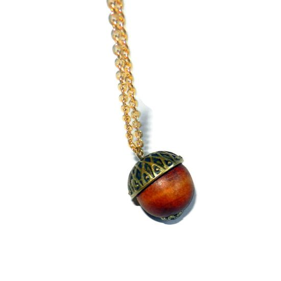 Acorn Charm Necklace by CloudNineDesignz on Etsy, $18.00