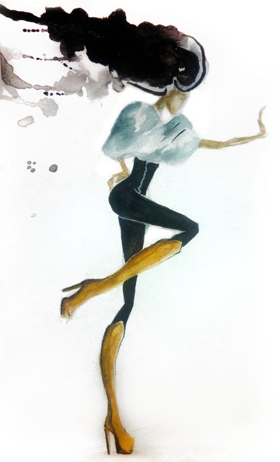Stop!  Fashion illustration via helloclaire.com