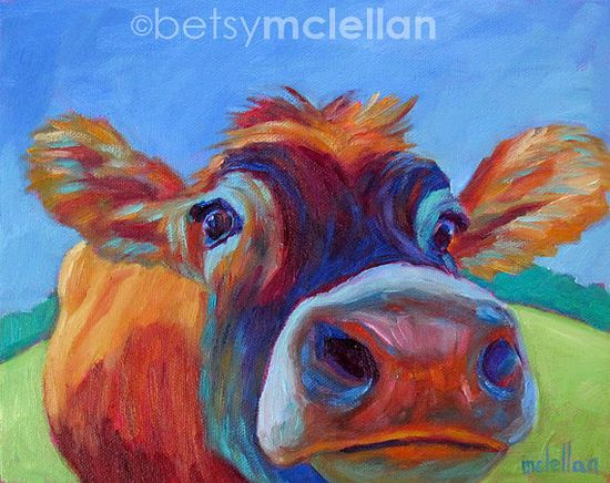 Cow Original Painting 10x8 by betsymclellanstudio on Etsy, $55.00