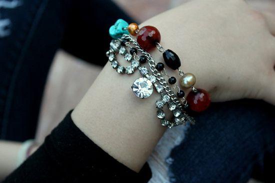 Vintage rhinestone and gemstone bracelet