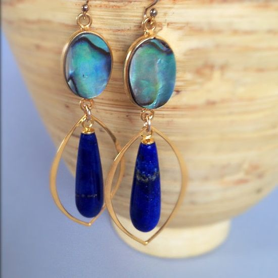 Shell earrings dangle earrings abalone earrings lapis by AinaKai