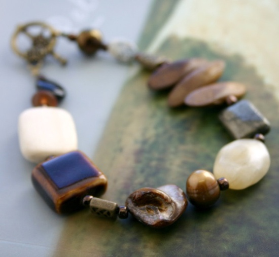 Brown Cream Bracelet. $15,00, via Etsy.