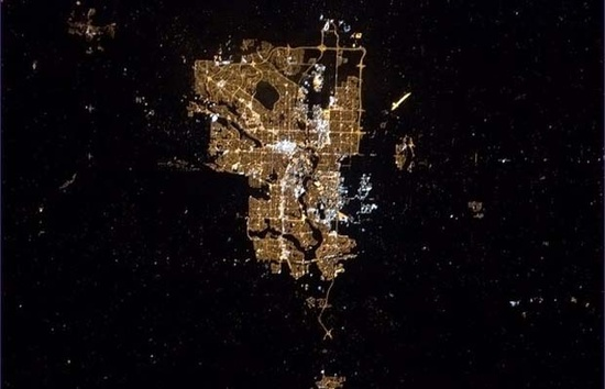 Calgary from space: Chris Hadfield
