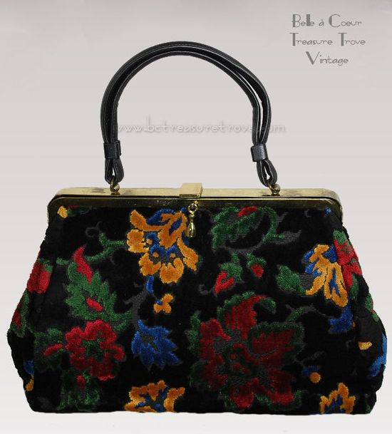 Black & Bright Floral Chenille Carpet Purse Handbag 11079