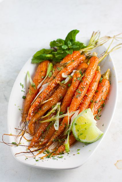 Roasted Cumin-Lime Carrots//so pretty and easy to make! could make w/sliced regular carrots.