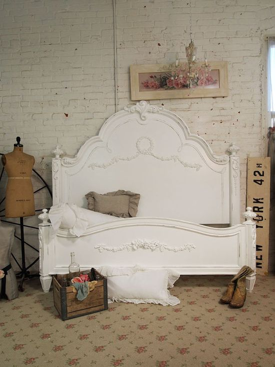 Painted Cottage Shabby White King Romance Bed by paintedcottages, $1995.00