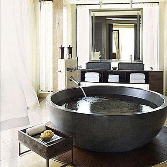 #interiordesign #interiors #interior #design #homedecor #home #decor #decoration #wow #bathroom #bathtub #tub #shower #round #spa #relaxing #mirror #stone #window