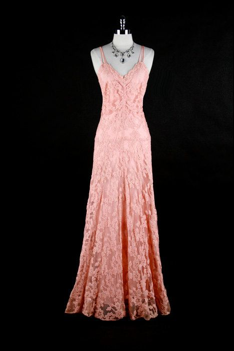 Vintage 1930s Pink Crochet Embroidery Bias Dress