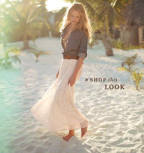 long skirt and denim